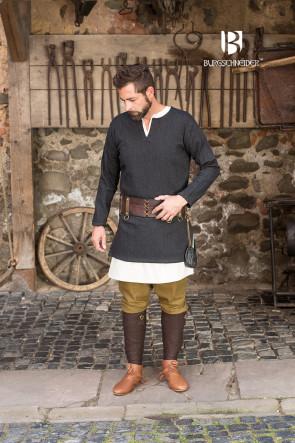 Herringbone Woven Tunic Tyr - Black/Grey
