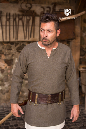 Medieval LARP Tunic in olive grey herringbone pattern